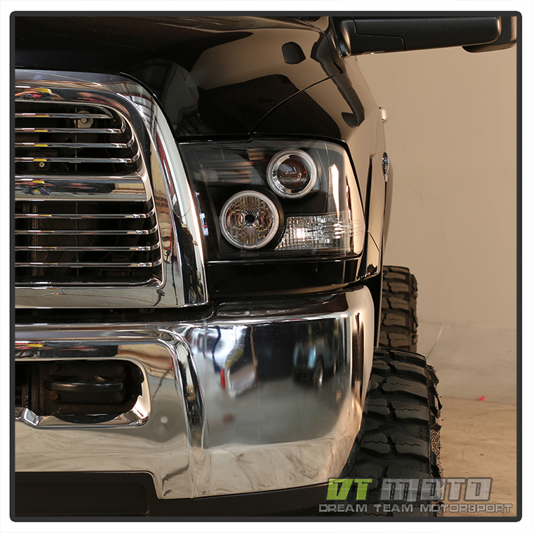 Black 2009 2018 Dodge Ram Led Halo Projector Headlights