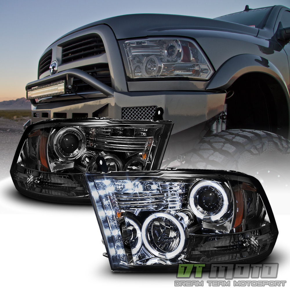 Dodge Ram 2009 2012 Mega Crew Cab Chrome Door Moldings: Smoked 2009-2018 Dodge Ram 1500 2500 3500 Halo LED