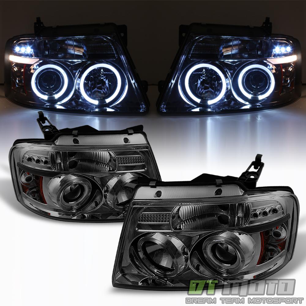 Smoke 2004-2006 Ford F150 LED Halo Projector Headlights 04