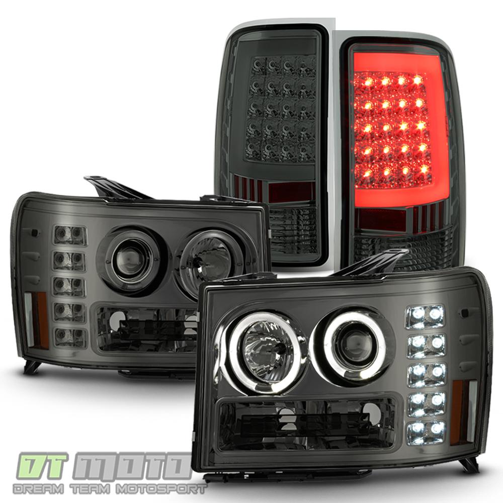 Smoked 2007-2013 GMC Sierra 1500 Halo Projector Headlights