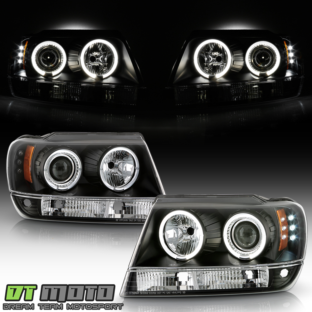 black 1999-2004 jeep grand cherokee led dual halo projector