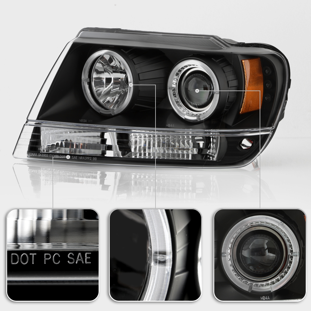 black 1999-2004 jeep grand cherokee led dual halo projector headlights headlamps | ebay jeep xj auto trans wiring jeep xj halo headlights wiring