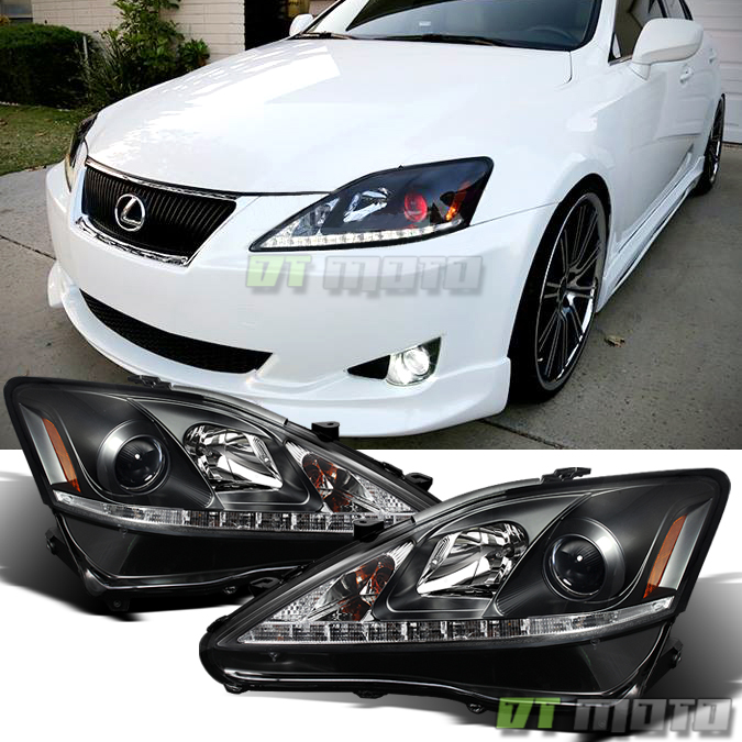 For 2006-2010 Lexus IS250 IS350 Black LED DRL Projector Headlights ...