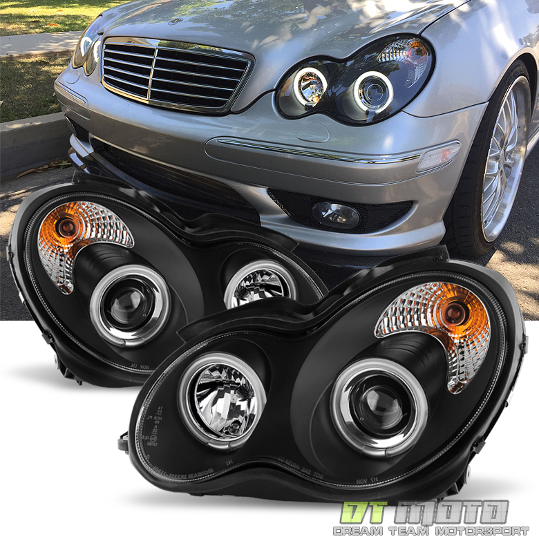 Blk 2001 2007 Benz W203 C Class Halo Projector Headlights