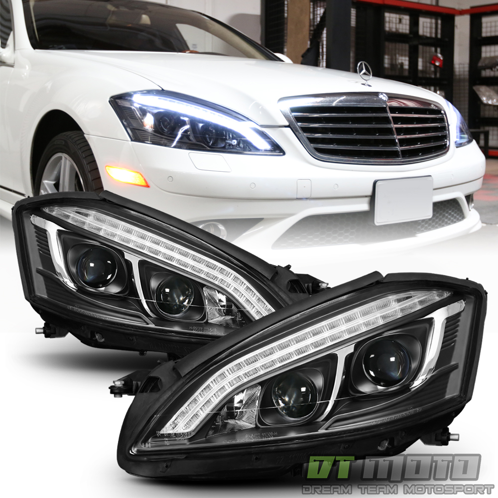 Halogen model black 2007 2013 mercedes benz w221 led drl for Mercedes benz headlight bulb