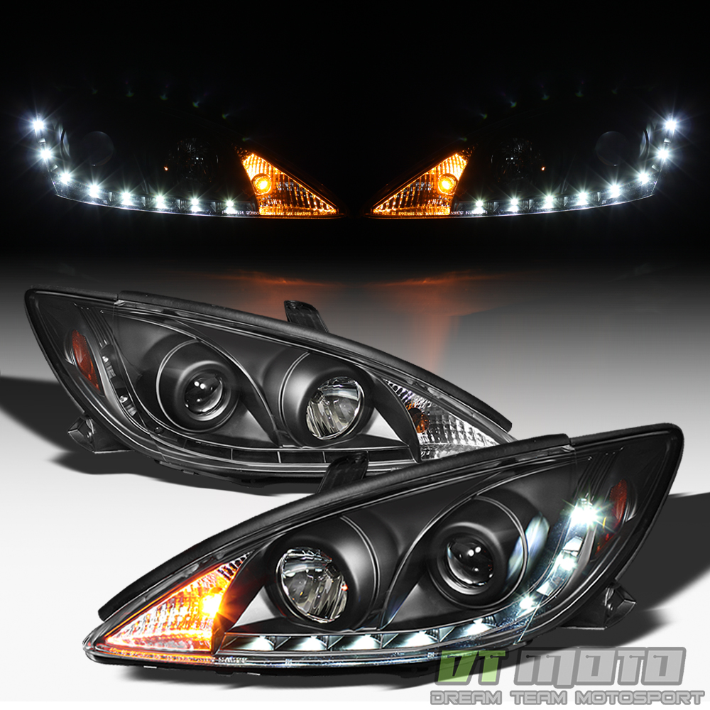 black 2002 2006 toyota camry daytime led running lamps drl projector headlights ebay. Black Bedroom Furniture Sets. Home Design Ideas