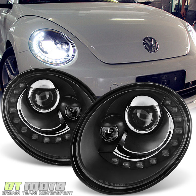 2006 2010 vw beetle projector headlights w drl led running. Black Bedroom Furniture Sets. Home Design Ideas