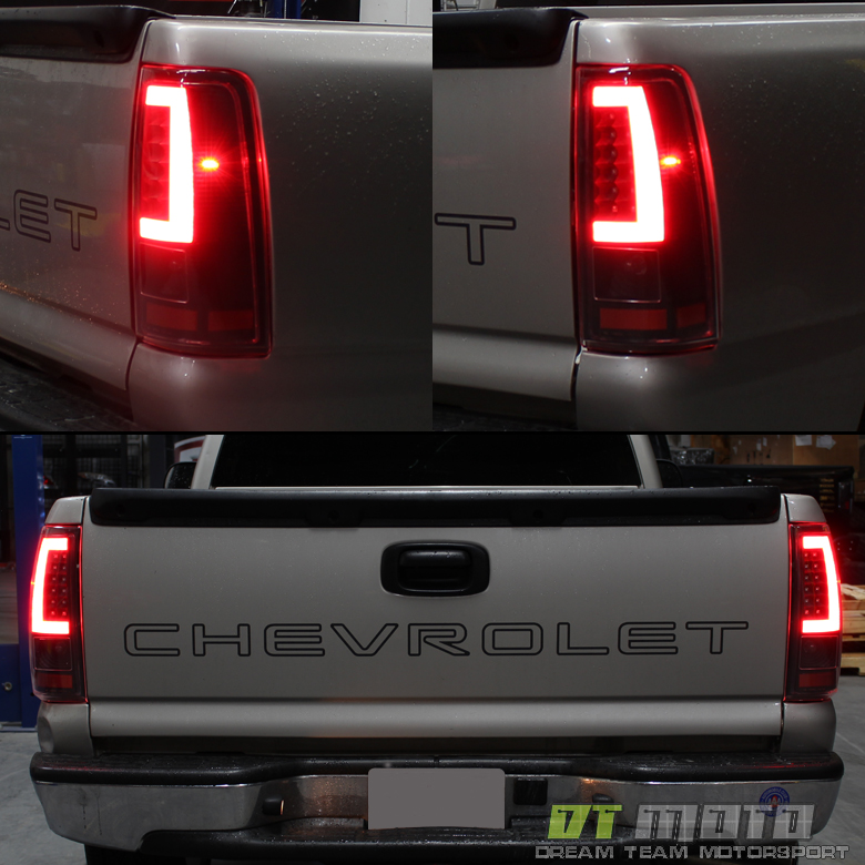 Details about 2003 2004 2005 2006 Chevy Silverado Red LED Tail Lights w/  LED Bar Brake Lamps