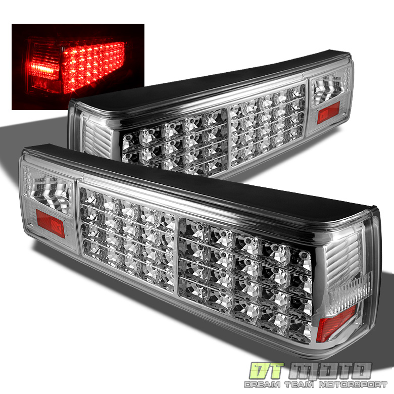 87 93 mustang full led tail brake lights lamps chrome. Black Bedroom Furniture Sets. Home Design Ideas