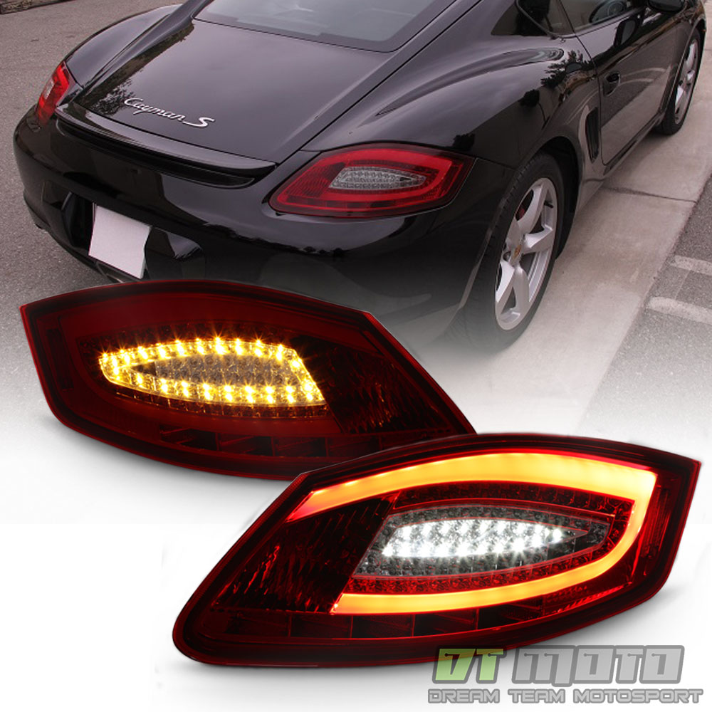 2005 2008 porsche boxster 987 06 08 cayman red smoke led tube tail lights lamps ebay. Black Bedroom Furniture Sets. Home Design Ideas