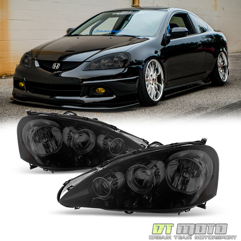 Black Smoked 2005-2006 Acura RSX Headlights Lamps Left
