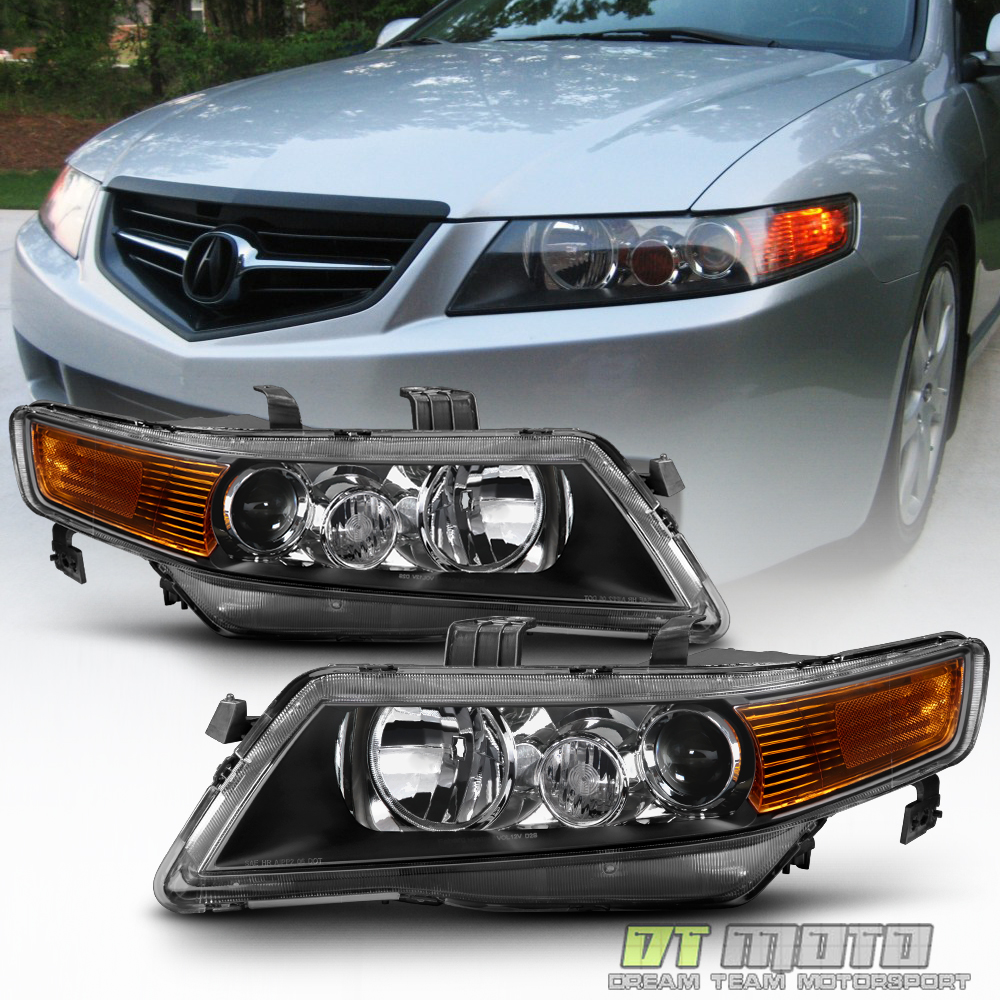 Blk 2004-2008 Acura TSX CL9 Projector Headlights Headlamps