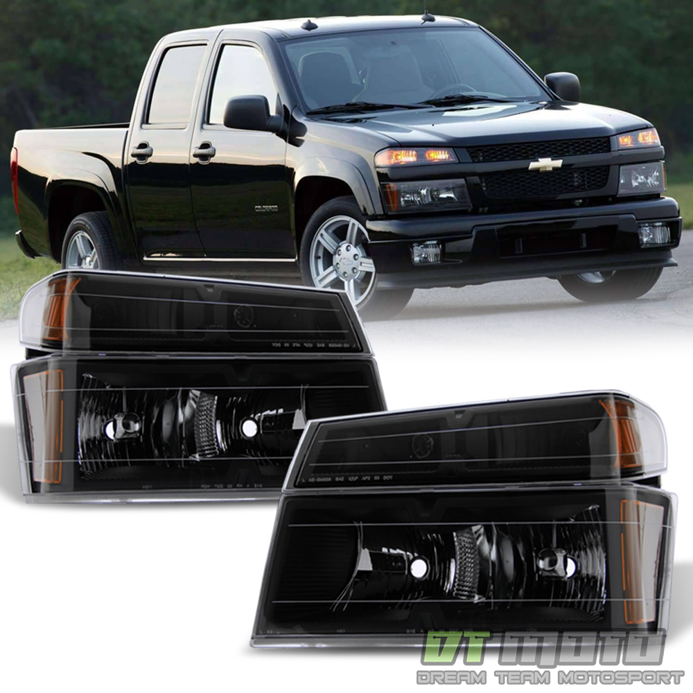 Blk [4PC] 2004-2012 Chevy Colorado Canyon Headlights