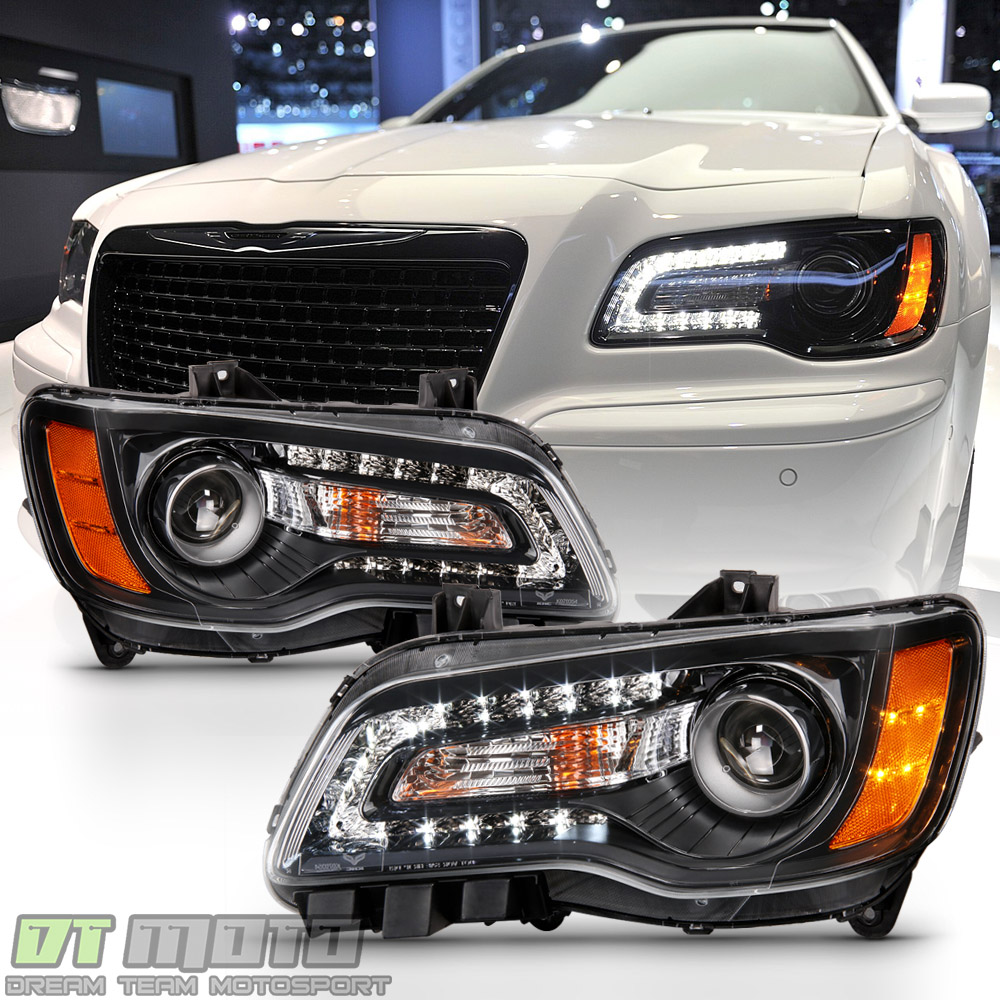 black factory style 2011 2014 chrysler 300 halogen led drl. Black Bedroom Furniture Sets. Home Design Ideas