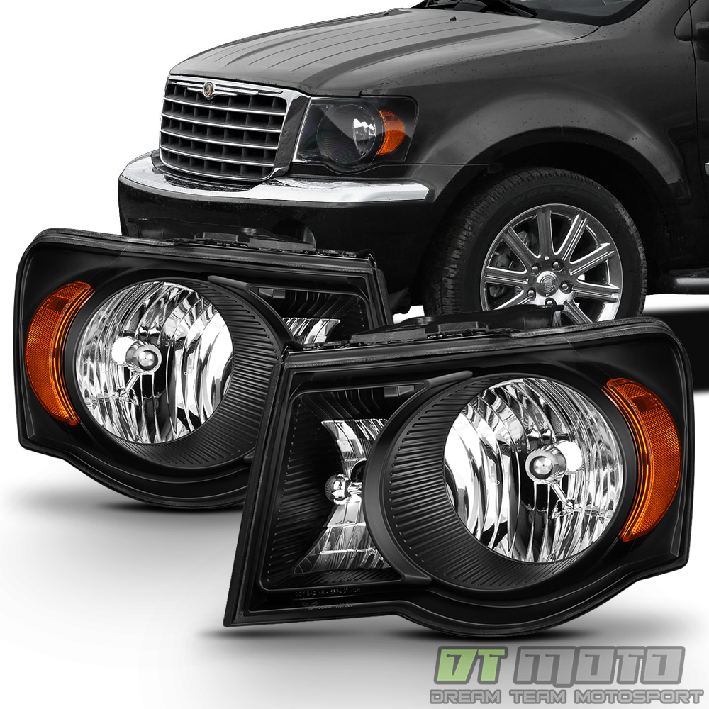 Black 2007 2008 2009 Chrysler Aspen Headlights Headlamps