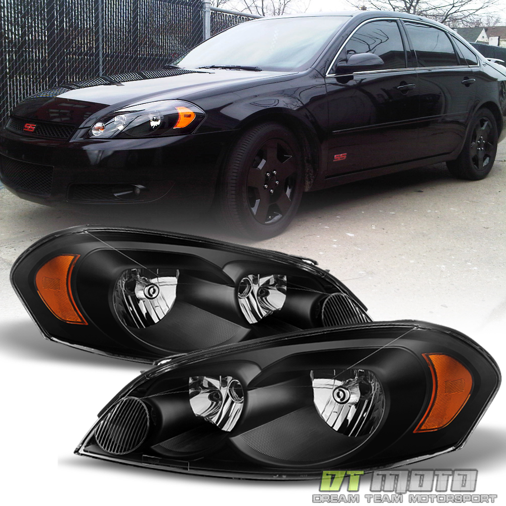 2006 2007 Monte Carlo//2006-2013 Chevy Impala Factory Style Black Headlights Pair