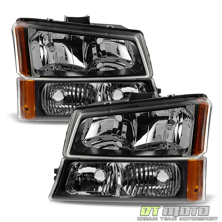 Black 2003-2006 Chevy Silverado Avalanche Headlights