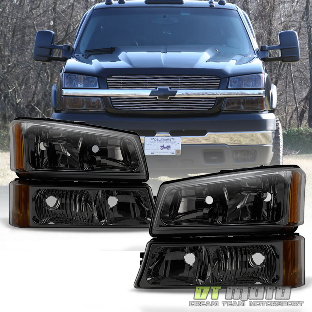 Smoked 2003 2006 Chevy Silverado Headlights Bumper