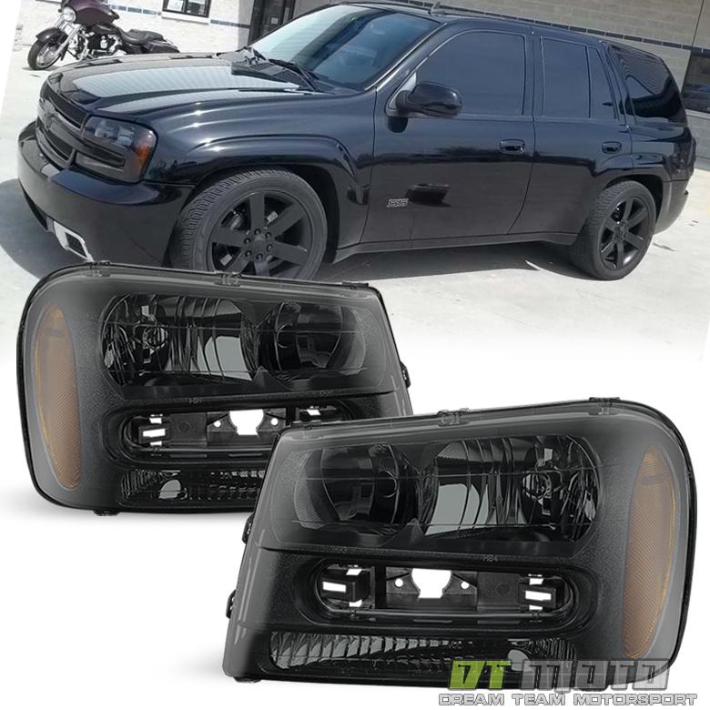 2002-2009 Chevy Trailblazer EXT Black LEFT+RIGHT Headlight Assembly Trail Blazer