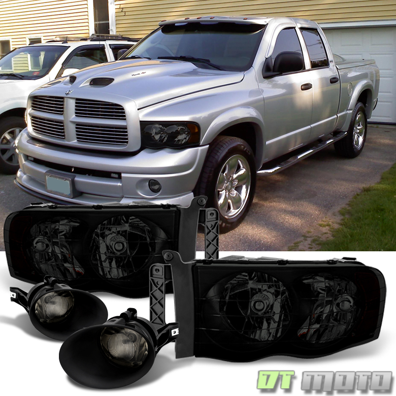 For 2002-2005 Dodge Ram 1500 03-05 Ram 2500/3500 Blk Smoke