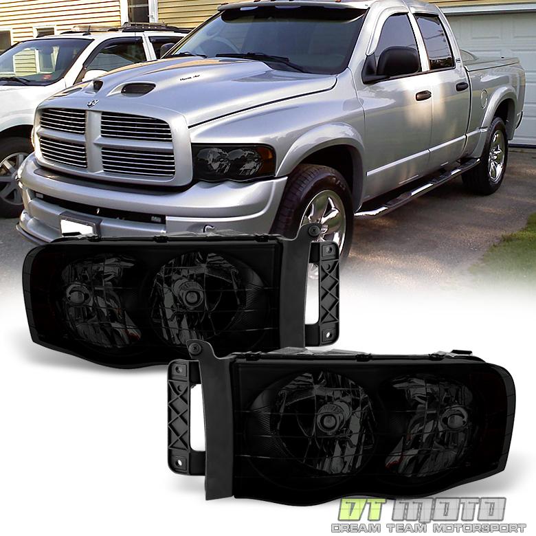 Black Smoke 2002-2005 Dodge Ram 1500 2500 3500 Headlights Headlamps