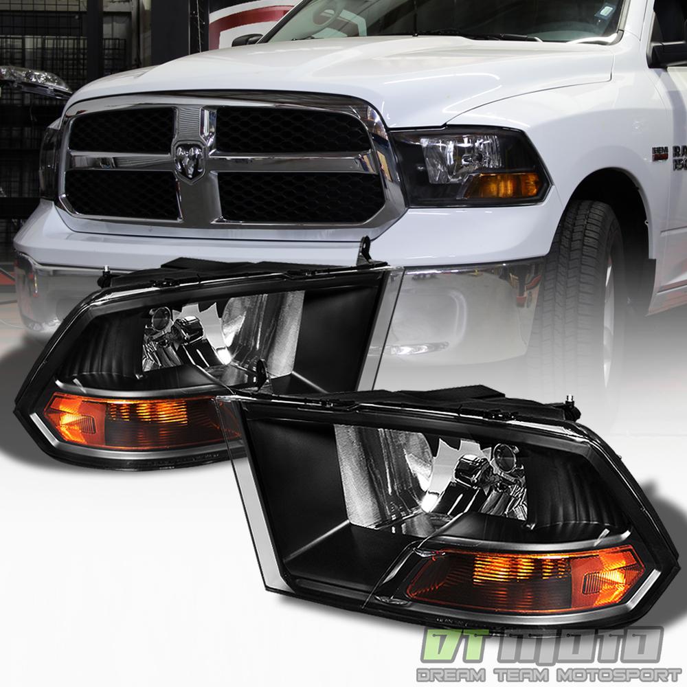 2009-2018 Dodge Ram Black Headlights Lamps Replacement