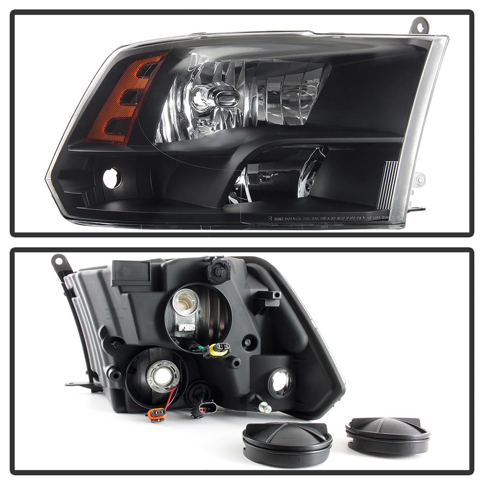 2009-2018 Dodge Ram 1500 10-18 2500 3500 Headlights Black