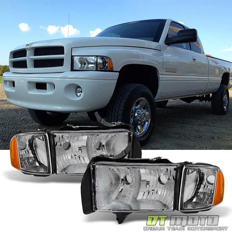 Chrome 1999 2000 2001 dodge ram 1500 pickup sport headlights w titanium clear publicscrutiny Image collections