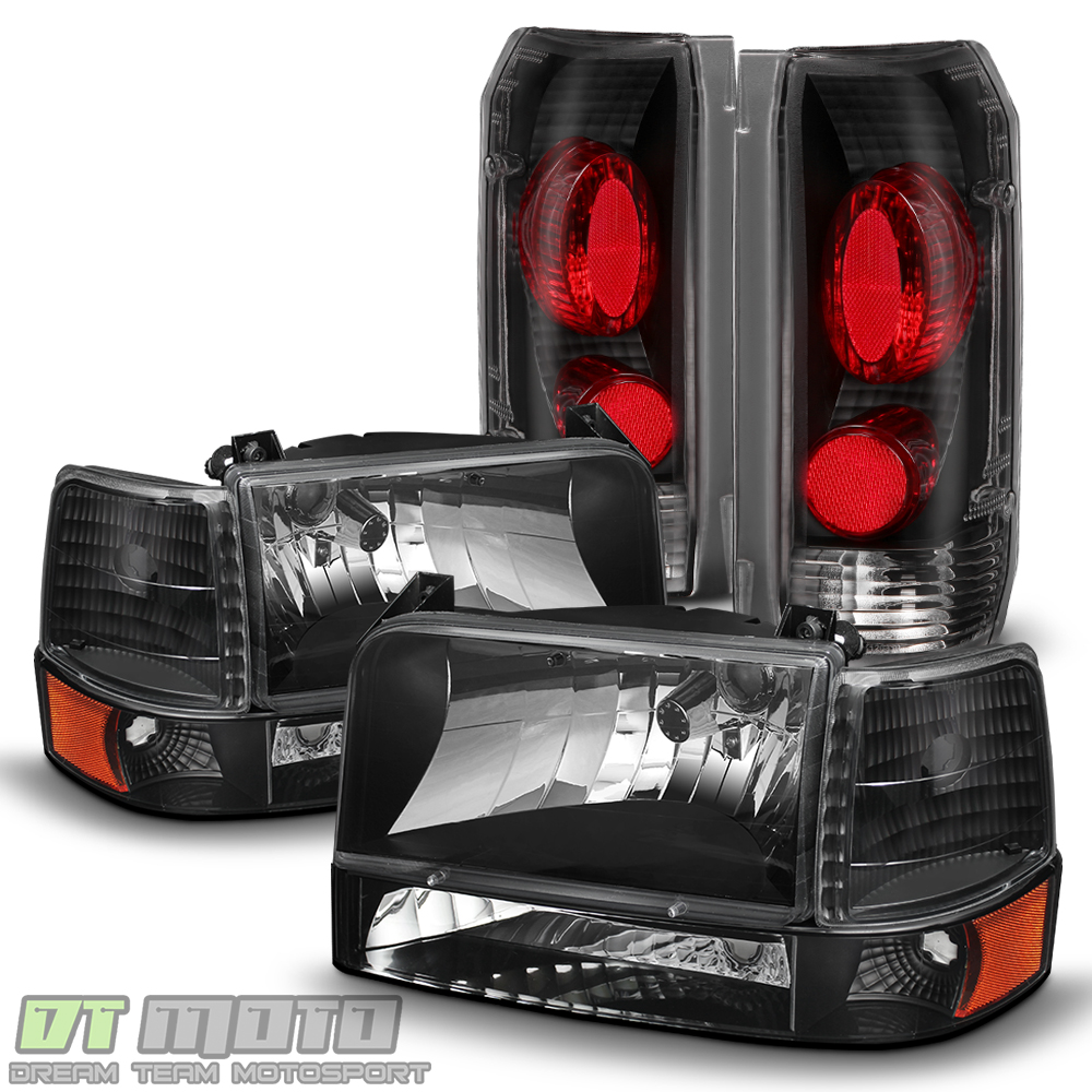 Black 1992-1996 Ford F150 F250 F350 Bronco Headlights