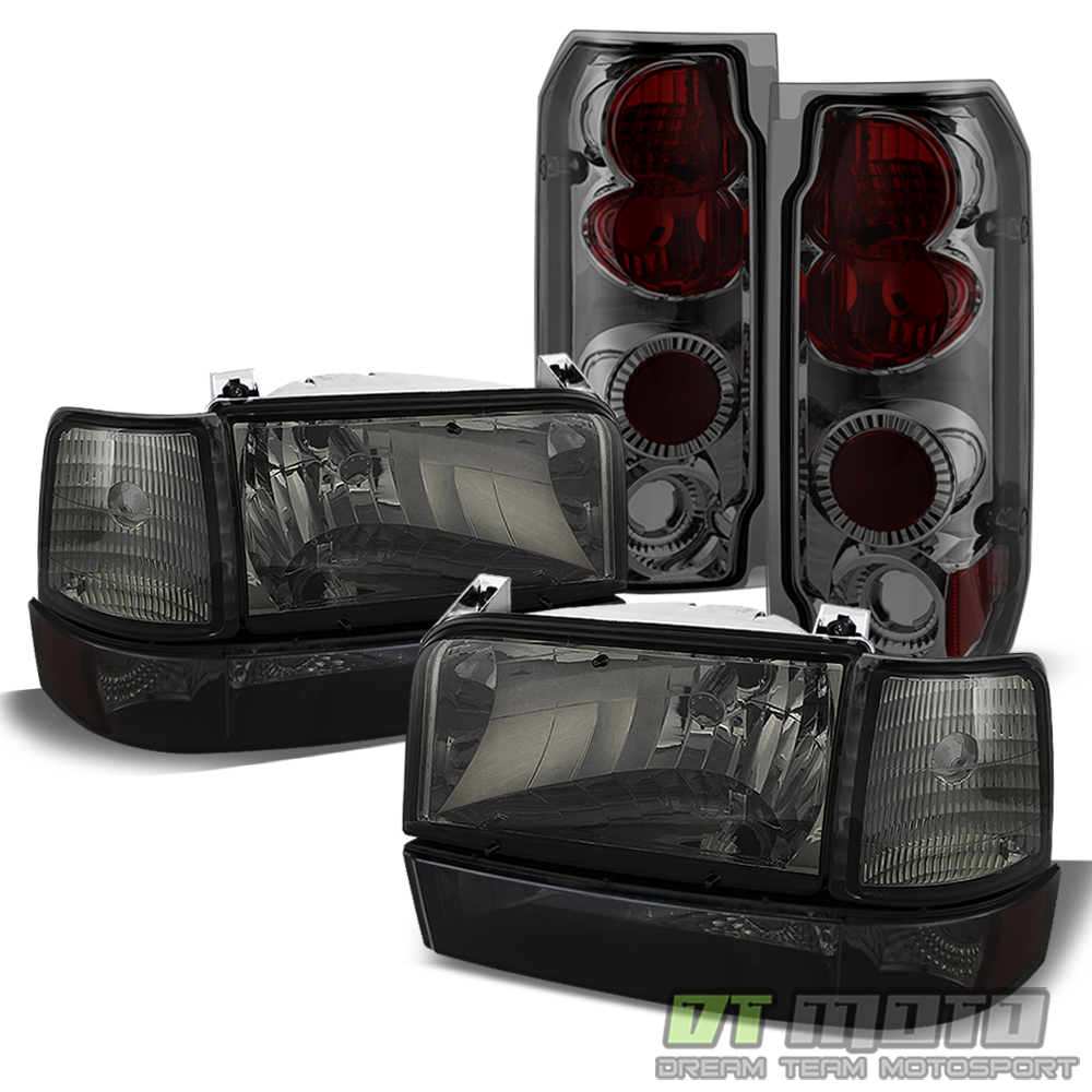 Smoke 1992-1996 Ford F150 F250 Bronco Headlights+Bumper