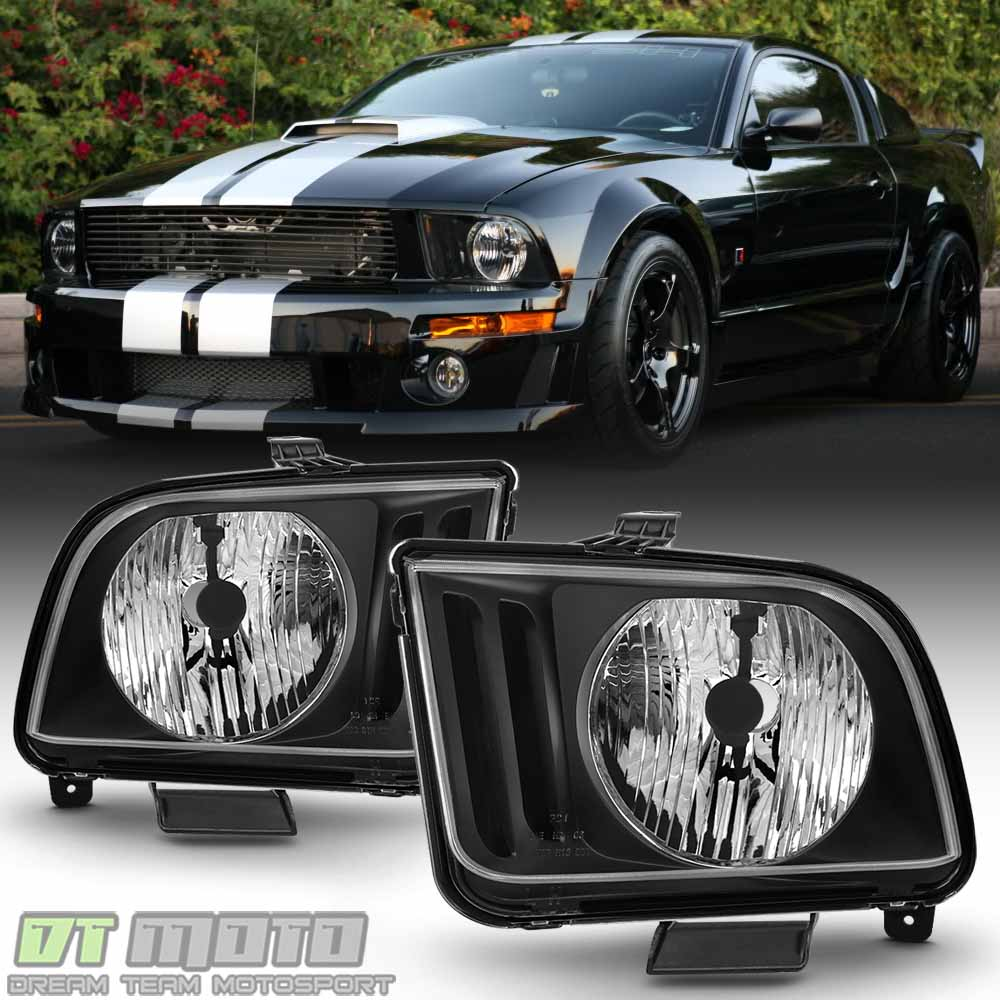 Black 2005 2006 2007 2008 2009 Ford Mustang Headlights