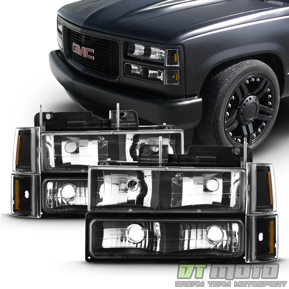 Black 1994 1998 Gmc C K Sierra Yukon Suburban Headlights