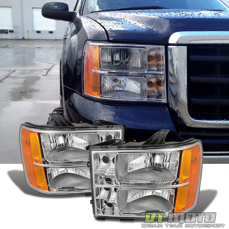 2007-2014 GMC Sierra 1500 2500 3500 Headlights Lamps Left