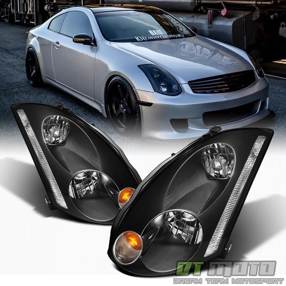 black for 2003 2005 g35 coupe hid model headlights headlamps 03 05 left right ebay. Black Bedroom Furniture Sets. Home Design Ideas