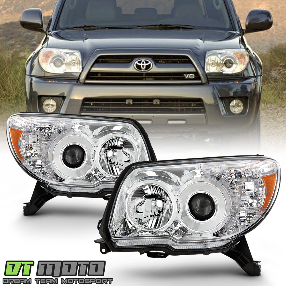 2006-2009 Dual LED Halo Black Projector Headlights Pair For Toyota 4Runner SUV