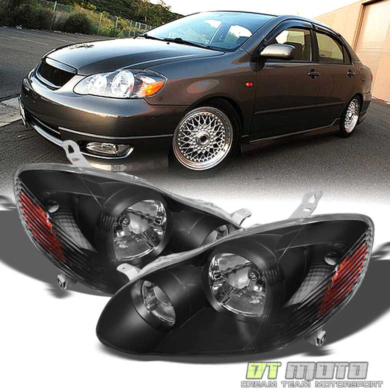 for black 2003 2008 toyota corolla replacement headlights