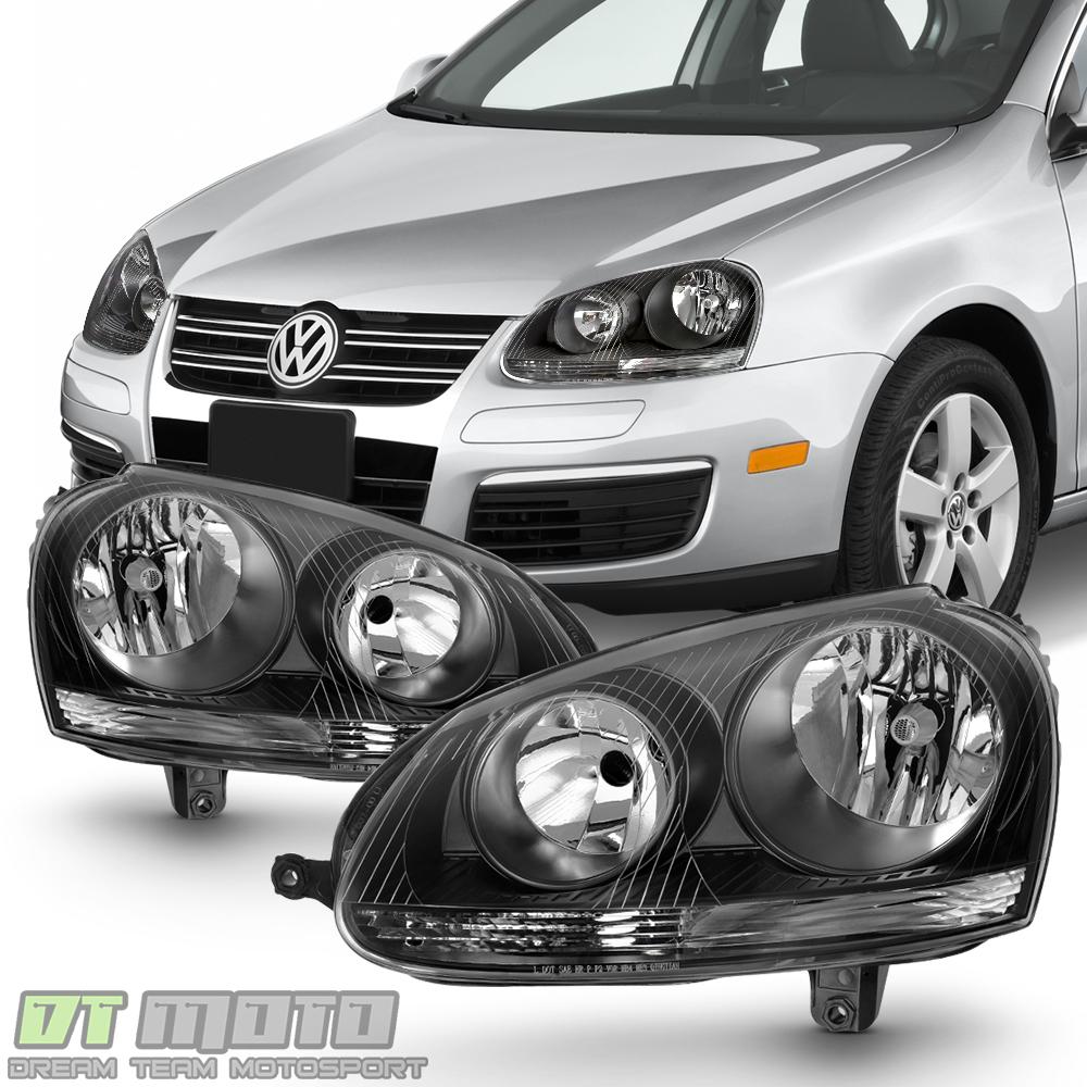 Details About Black 2006 2007 2008 2009 Volkswagen Jetta Gti Mk5 Headlights 06 09 Headlamps