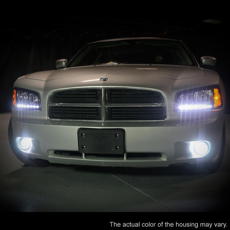 Black 2006 2010 Dodge Charger Led Drl Headlights W Built