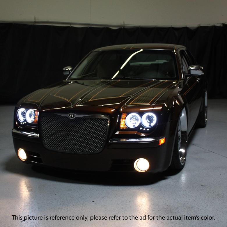 Black 2005-2010 Chrysler 300C LED DRL Halo Projector