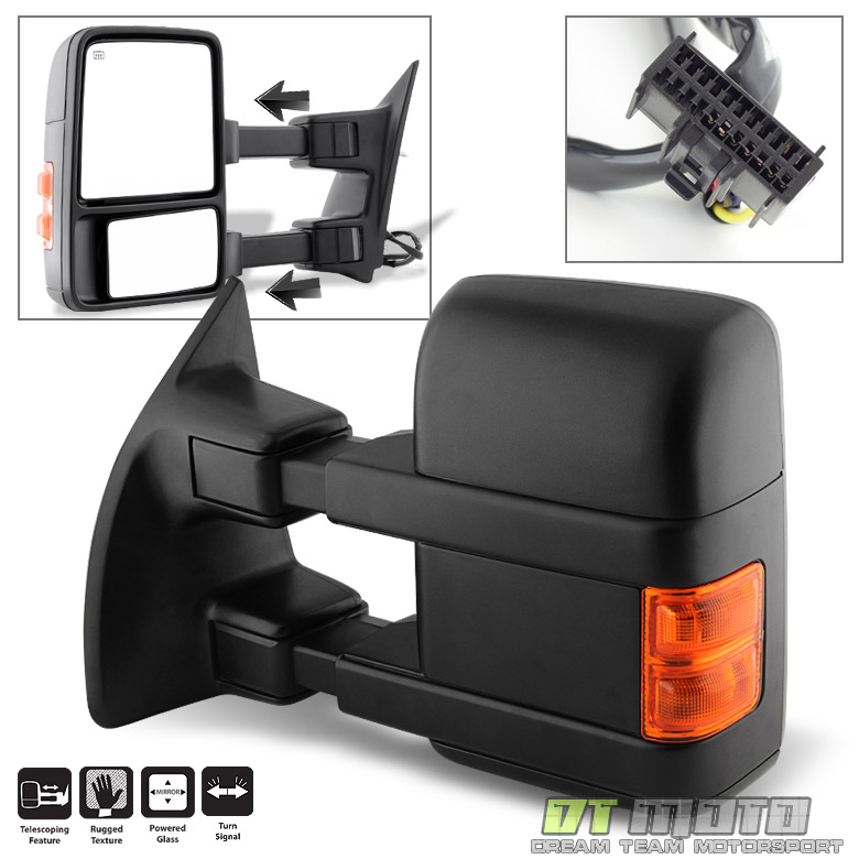 08-16 Ford Super Duty 1 Pack DNA Motoring TWM-027-T888-BK-AM-L Powered Towing Mirror Heat LED Signal Left