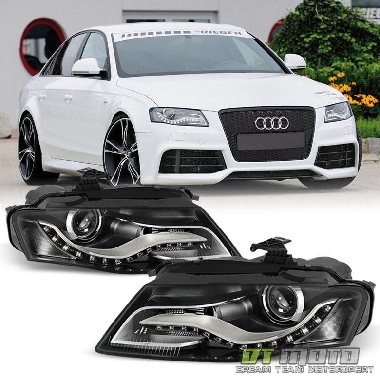 Black 2009-2012 Audi A4 S4 B8 Halogen [RS4 Style] LED DRL