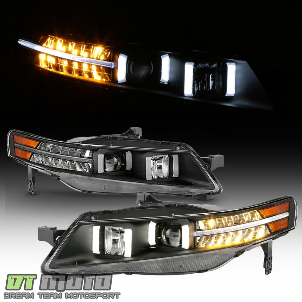 Black 2004-2008 Acura TL W/ LED Signal DRL Tube Projector
