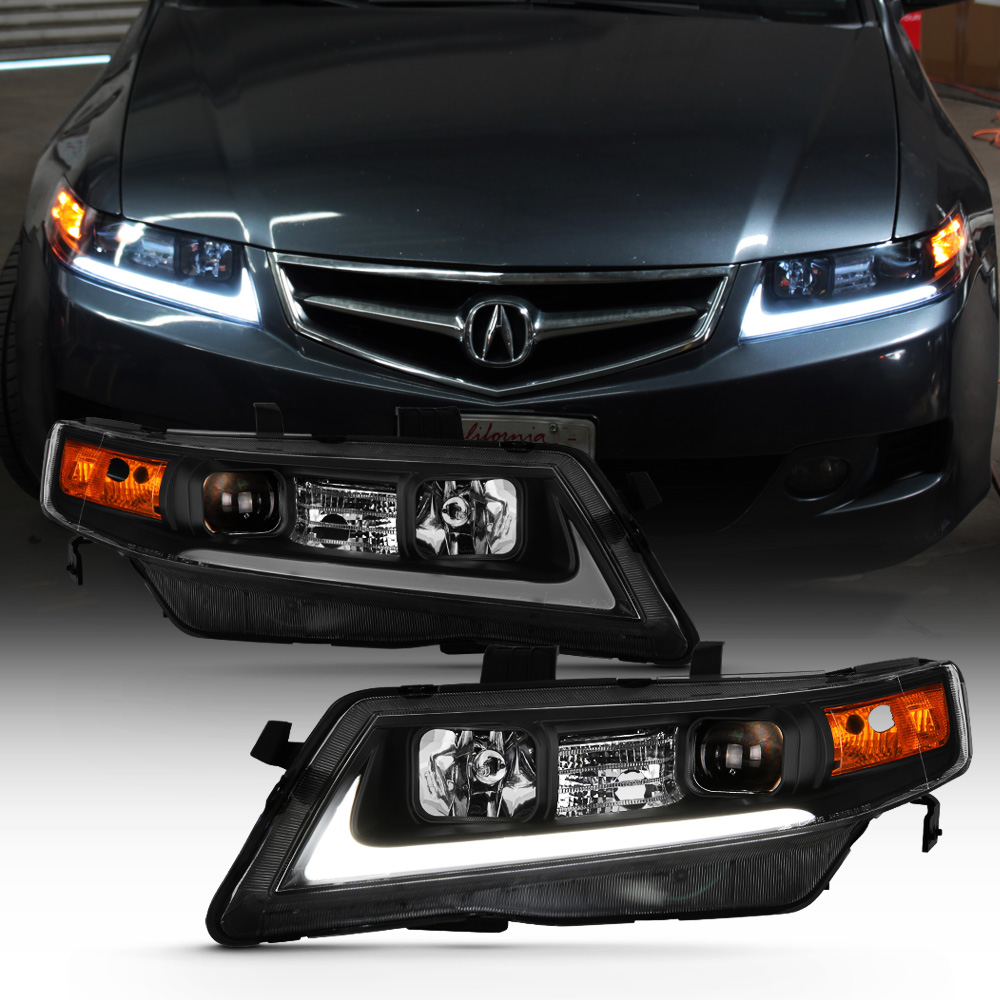 Black 2004-2008 Acura TSX CL9 LED Tube Projector