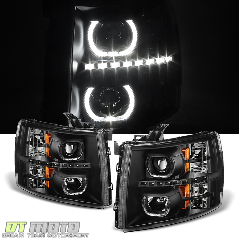 Black 2007-2013 Chevy Silverado 1500 2500HD 3500HD LED