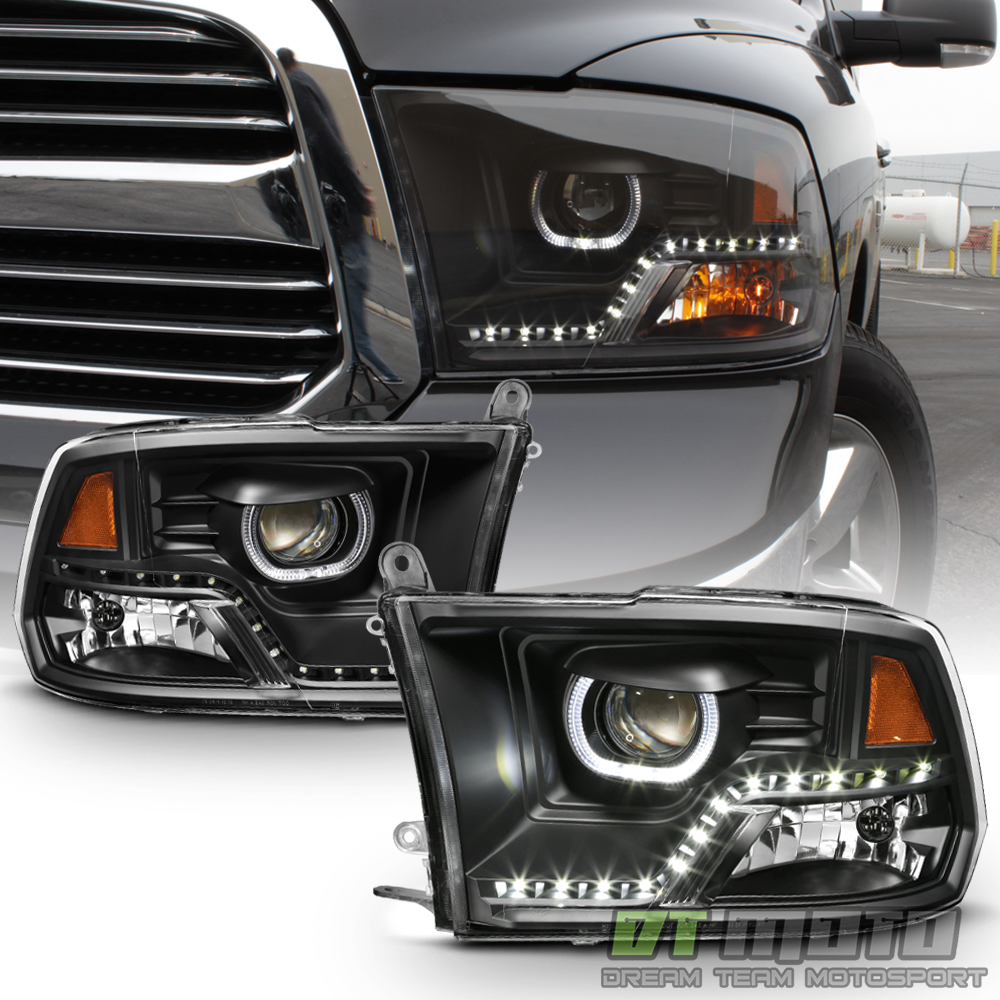 black 2009 2018 dodge ram 1500 2500 3500 drl led projector. Black Bedroom Furniture Sets. Home Design Ideas