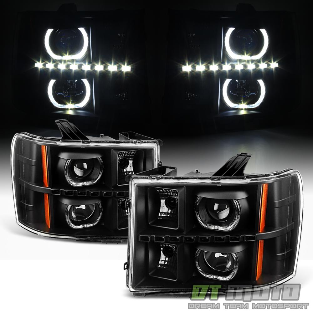 Black 2007-2013 GMC Sierra 1500 2500HD 3500HD SMD LED Halo