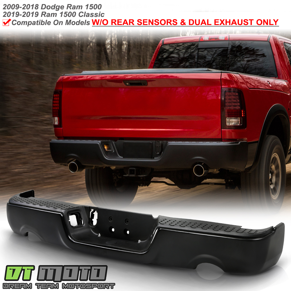 Chrome Finish Step Bumper For 2011-2018 Ram 1500 w// Dual Exhaust Holes Steel