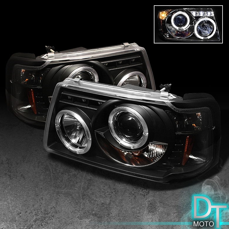 Blk 2001-2011 Ford Ranger LED Halo Projector Headlights W
