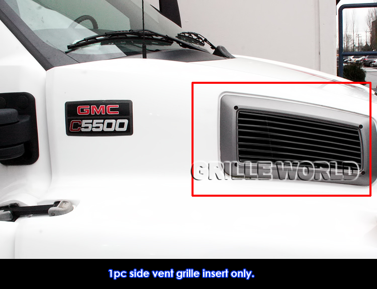 APS Compatible with 2003-2009 Chevy Kodiak C4500 C5500 Side Vent Black Billet Grille Grill Insert C86630H