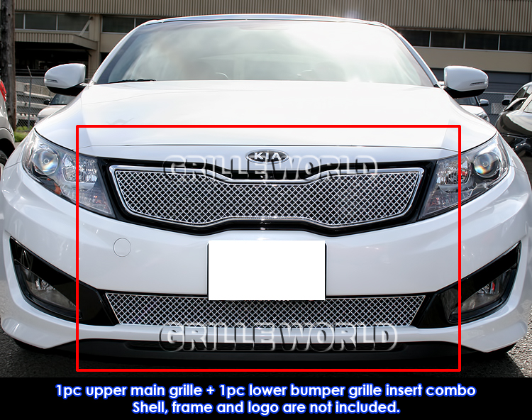 Fits 2011 2012 Kia Optima Sx Ex Turbo Stainless Steel X Mesh Grille